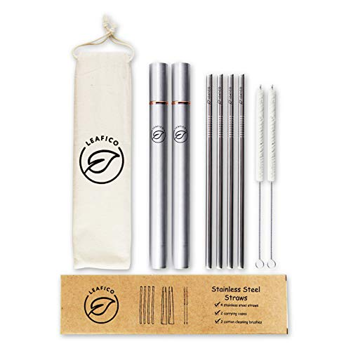 Reusable Straws with Case   Stainless Steel Straws Portable & Washable   Eco-Friendly & Zero Waste   Metal Straw Set (4 Drinking Straws + 2 Cotton Cleaning Brushes + 2 Travel Cases) by Leafico Review