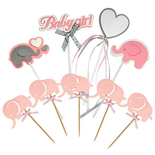 Pink Baby girl Elephant Cupcake Toppers For Birthday Wedding Party
