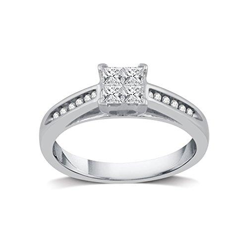 DeCarat 3/8 Carat T. W Diamond Platinaire Princess-Cut Quad Diamond Engagement Ring