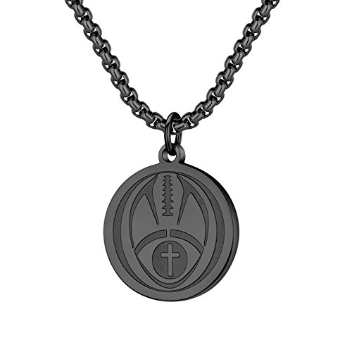 Molike Sports Cross Pendant Necklace for Men Women with an Inspiring Luke 1:37 Bible Verse on Back (Black Football Pendant)]()