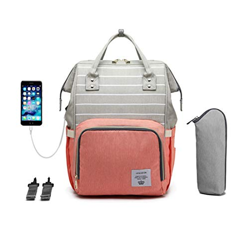 LEQUEEN Diaper Bag Multi-Function Baby Diaper Backpack Nappy Bags, Mom Dad Travel Backpack Large Capacity Baby Bags (USB Charging Port - Orange & Grey with - Stripe Grey Baby