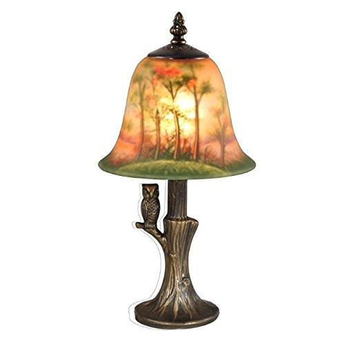 (Dale Tiffany TA15149 Owl Hand Painted Accent Table Lamp, Antique Brass)