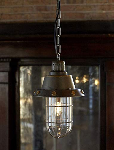Caged Foyer - Hanging Rustic Looking Flared Caged Foyer Pendant Light Fixture 44