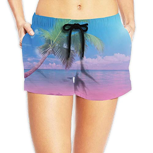 Pink Turquoise Ombre Tropical Palm Tree Women Hot Pants Summer Casual Beach Shorts