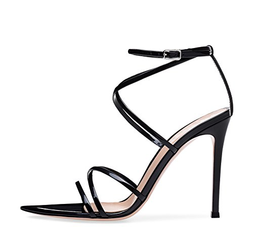 High ZPL Sandals Size Crossover Heel Shoes Womens Black Strappy Ladies Prom Party Wedding qrwzrAEPnx