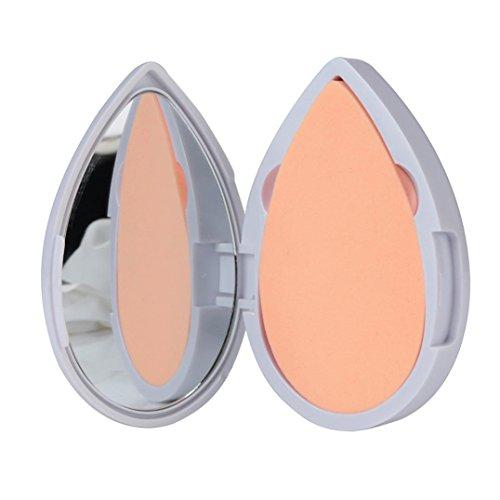 LandFox Heart Shape Latex Puff Powder Foundation Puff Makeup Mirror and Puff Set (White)