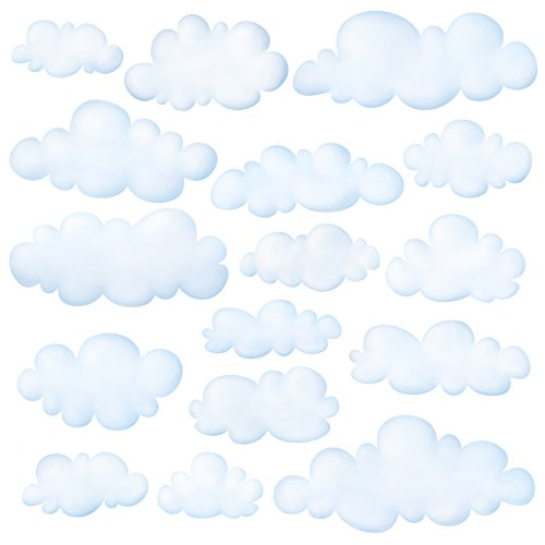 Decowall DW-1702 Clouds Kids Wall Decals Wall Stickers Peel and Stick Removable Wall Stickers for Kids Nursery Bedroom Living Room Ceiling Wall Baby Nursery Room