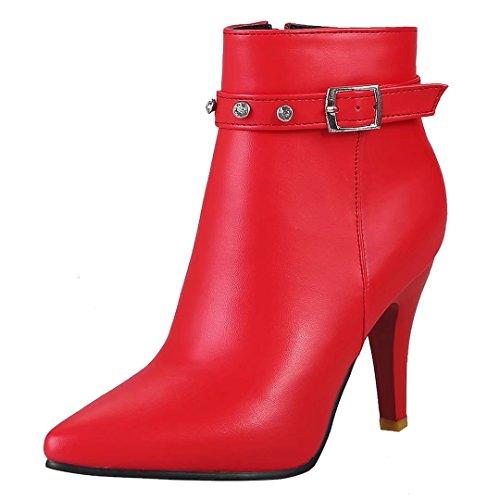 AIYOUMEI Damen Spitz Zehen Stiefeletten mit Schnalle und Strass Stiletto High Heels Reißverschluss Stiefel Rot