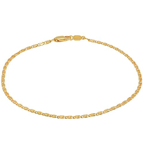 Venetian Link Chain (The Bling Factory 1.8mm 25 mills 24kt Gold Plated Venetian Link Chain Anklet, 10 inches)