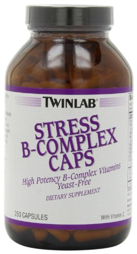 Twinlab Stress B-Complex Caps with Vitamin C, 250 Count, Pack of ()
