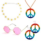 Canitor 4 Pieces Hippie Costume Set Includes 1 Piece Rainbow Peace Sign Necklace 1 Piece Flower Crown Headbands and 1 Pair of Hippie Sunglasses 1 Pair of Rainbow Peace Sign Earrings