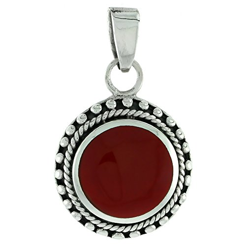 Round Sterling Silver pendant with Reconstituted Coral 7/8 inch