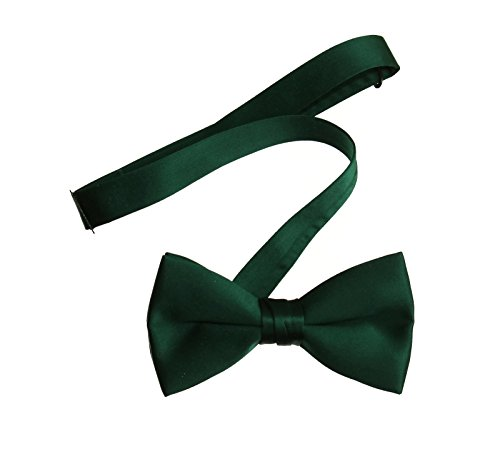 Hunter Green Pre Tied Bow Tie with Adjustable Neck Strap, Boys and Men Sizes