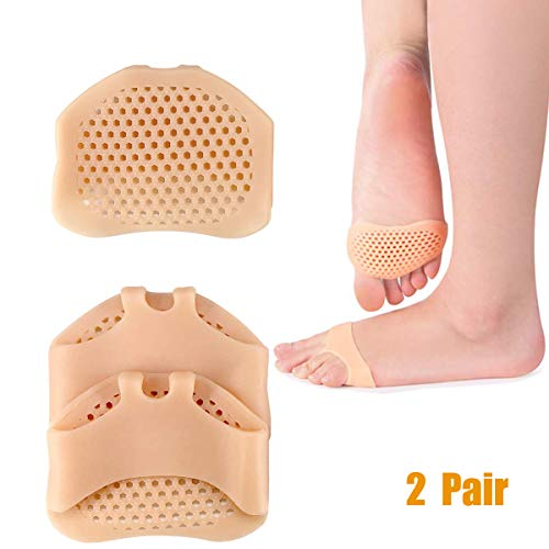Forefoot Pad - Metatarsal Pads Ball of Foot Cushions - ALIANFLY Soft Gel Ball of Forefoot Pad, Toe Separators Foot Pad, Foot Pain Relief Treatment Diabetic Foot, Blisters, Forefoot Pain for Women or Men(2 Pair)