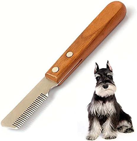 Aidiyapet Dog Professional Stripping Knife, Pet Deshedding Tool Brush Right-Handed Pet Grooming Tool Ergonomic Wooden Handle (Right)