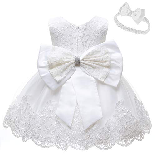 LZH Tulle Tutu Girl Dress Princess Wedding Pageant Party Baby Dresses White (White Flower Girl Dress Size 18 Months)