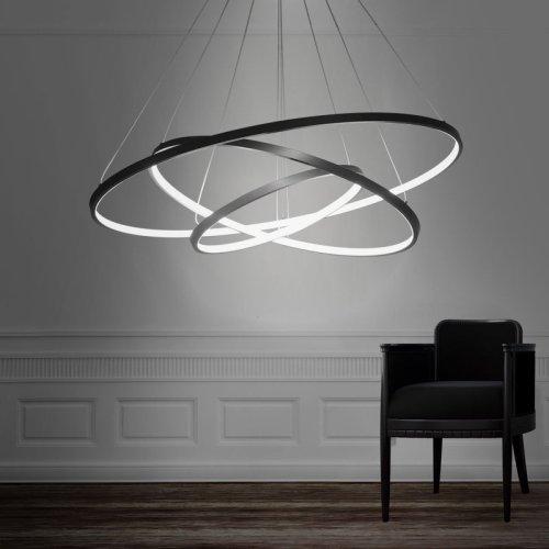 LightInTheBox 90W Pendant Light Modern Design LED Three Rings Chandeliers Black Color, Light Source=Warm White, Voltage=110-120V (Three Pendant Light Chandelier)