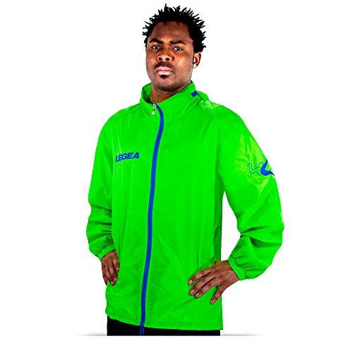 Legea Herren Regenjacke Tuono Cairo mit Kapuze K-Way Rain Jacket Wasserdicht Running Fußball Laufen Training Sport Grün (XL)