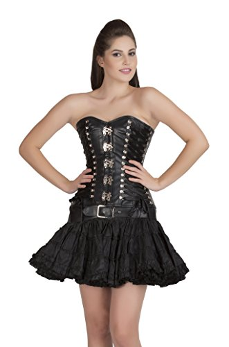 Black Faux Leather Gothic Steampunk Overbust Cotton Silk Tutu Skirt Corset Dress