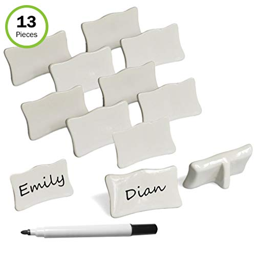 Porcelain Place Setting - Evelots Place/Name Cards-Porcelain-Reusable-with Marker-Easel Back-13 Piece Set