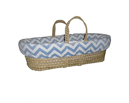 Baby Doll Minky Chevron Moses Basket, Blue by BabyDoll Bedding