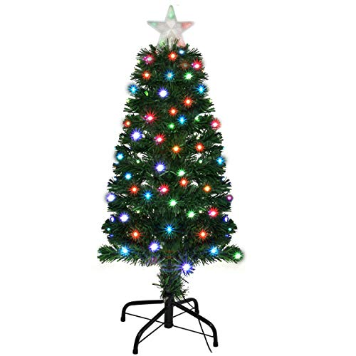 Holiday Essence 3 Foot Prelit Led Premium Hinged Artificial Christmas Pine Tree with Solid Metal Legs 100 Color Changing led Lights, with 5 LEDs Star Tree Topper, 96 Tips,UL Listed