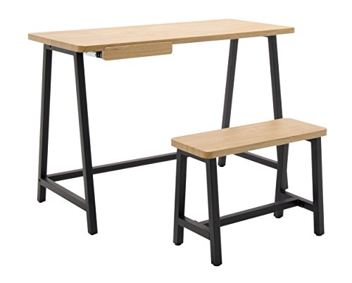Homeroom Art Drawing Kids Desk & Bench Set, Ashwood/Graphite (Ash Bench)