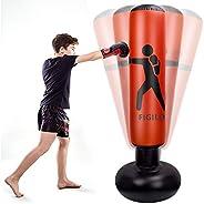Mdikawe 63inch Inflatable Kids Punching Bag–Freestanding Punching Bag,Punching Bags,for Karate, Taekwondo, MMA