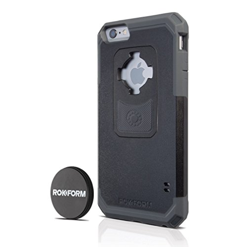 Rokform iPhone 6/6s PLUS Rugged Series Military Grade Magnetic Protective Phone Case with twist lock & universal magnetic car mount (Black/Gun Metal) - Specification Gunmetal
