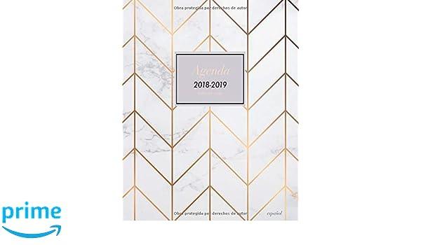 Agenda 2018 2019 Semana Vista Español: Agenda planificador con frases, semanal y mensual, diseño cheurón, textura de mármol, 20 x 25cm (Octubre 2018 ...