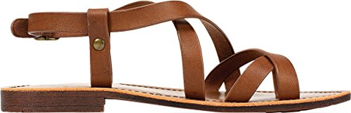 Toe Womens Casual Walnut CAELA Sandals Smooth Mountain Flat Open White wIp5Zq5