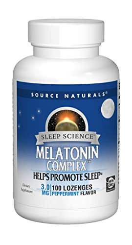 Source Naturals Sleep Science Melatonin Complex 3mg Peppermint Flavor - 100 Lozenges (Pack of 2)