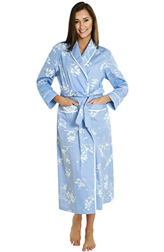 Alexander Del Rossa Women's Lightweight Cotton Kimono Robe, Summer Bathrobe, Large Blue with White Flowers (A0515P82LG)