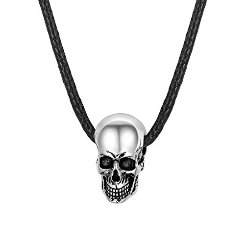 U7 Silver Black Gothic Skull Necklace with 2mm Wide Black Leather Cord Chain 22