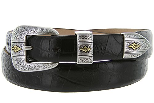 Mesa Gold - Men's Italian Calfskin Designer Dress Golf Belt with Western Silver Plated Buckle Set (36 Alligator Black) (Black Calfskin Belt Strap)