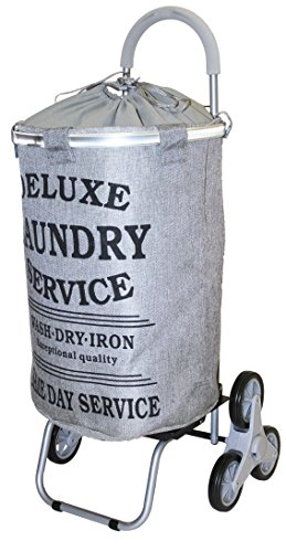- dbest products Stair Climber Laundry Trolley Dolly, Grey Laundry Bag Hamper Basket cart with wheels sorter