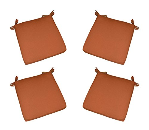 "Set of 4 - Indoor / Outdoor Potter / Clay / Rust Orange 17"" X 17"" Square Universal 3"" Thick Foam Seat Cushions with Ties for Dining Patio Chairs"