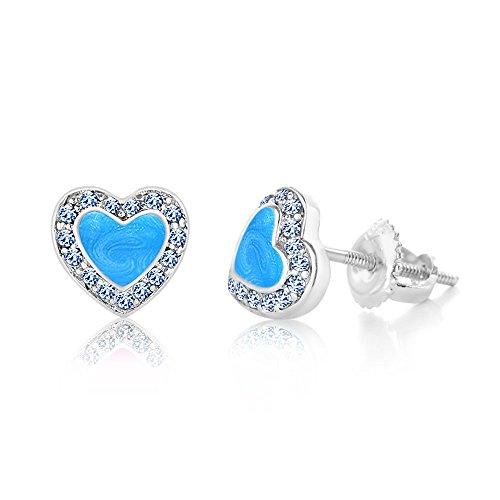 Kids Earrings - 925 Sterling Silver with a White Gold Tone Heart Blue Enamel Secure Screw Back Earrings Made with Swarovski Elements, Kids,baby,girls,children (Ring Enamel Tone Gold White)