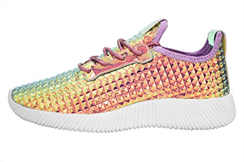 (ROXY ROSE Women Metallic Leather Sneaker Lightweight Quilted Lace Up Pyramid Studded 8 B(M) US, Purple Hologram)