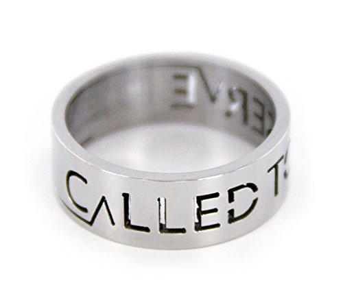 ''Called To Serve'' LDS Missionary Ring - Size 8 - Stainless Steel - Cut-Out Design by Pioneer Plus