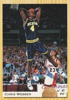 Chris Webber basketball card (Michigan Wolverines Fab 5 NCAA Final Four) 1993 Classic Draft Pick #1 Rookie -