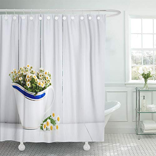 Semtomn Decorative Shower Curtain Chamomile Flowers in Vintage Ceramic Gravy Boat on White 66