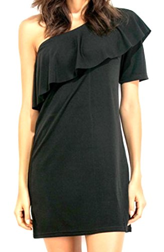 Black Sexy Stylish Solid Dresses Colored Women's Flounced Short Coolred xq87IBwC