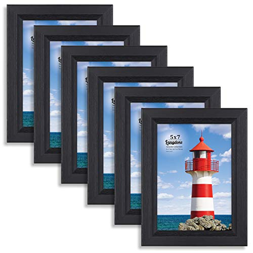 Langdons 5x7 Picture Frame (6 Pack, Black), Sturdy Wood Composite Photo Frame 5 x 7, Wall Mount or Table Top, Set of 6 Seaside Collection ()