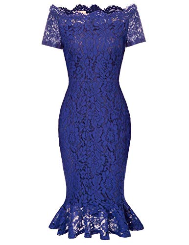 (GRACE KARIN Women's Chic Floral Lace Slim Evening Cocktail Dress for Party M Blue)