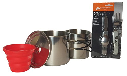 Camping-Mess-Kit-Stainless-Steel-with-Utensils-3-Piece-Stainless-Steel-Cookware-Set-bundled-with-7-in-1-Backpacking-Utensil-Set-and-1-16-ounce-Collapsible-Cup