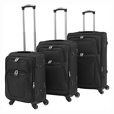 HomyDelight Suitcase, 3 Piece Soft Case Trolley Set Black