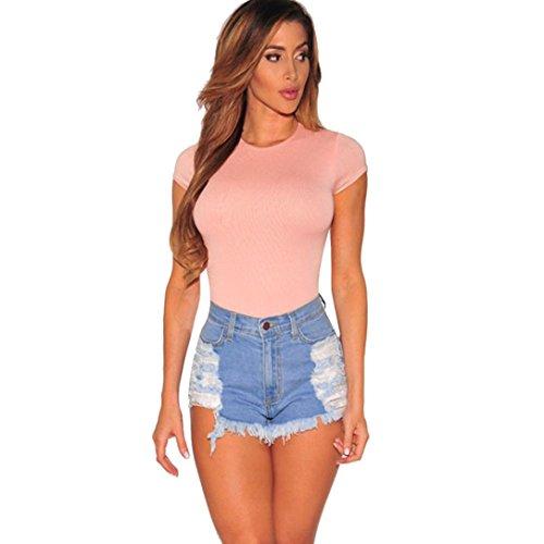 ❤️❤️Hot Sale New Fashion 2018 Clearance Among Women Shorts Summer Sexy Ripped High Waisted Denim Shorts Jeans Hot Beach Pants (L, Light blue)