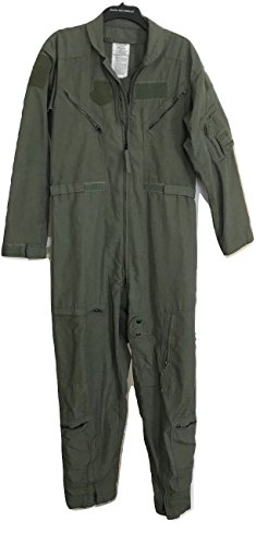 Original Military SAGE Green NOMEX FLYERS COVERALLS size 42 Short Flight Suit Pilot