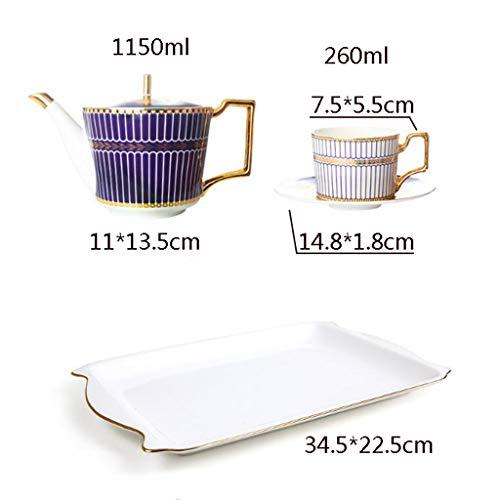 CSQ Coffee Cup Five Sets of Tea Sets, Black Tea Coffee Restaurant Tea Set Scented Tea Teapot Ceramic Teapot Capacity: 1150ml Afternoon Tea (Color : #2) by Tea set-CSQ (Image #1)
